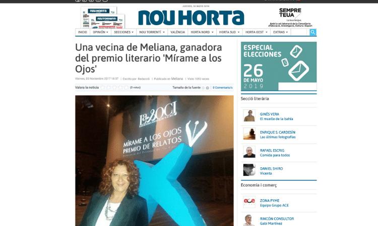 Articulo periódico Nou Horta sobre Luz Ros y el premio Mírame a los Ojos de La Caixa