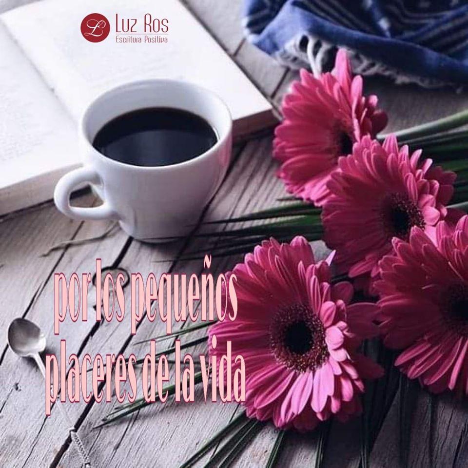 café, libro y flores